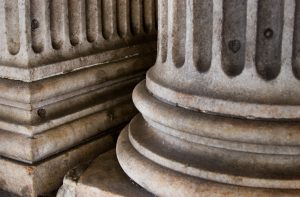 Marble column pediments . New York City 2005